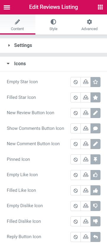 Reviews Listing Icons