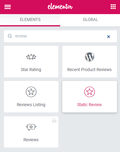 Static Reviews widget