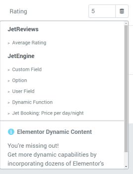 Star Rating widget dynamic tags list