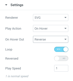 Lottie widget on hover settings