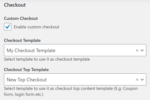 assign Checkout template