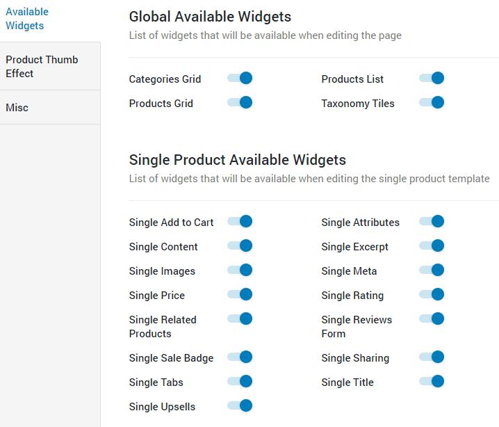 JetWooBuilder available widgets