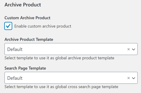 Archive Products page settings