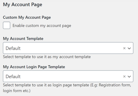 My Account page settings