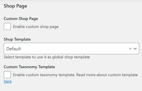 Shop Page settings