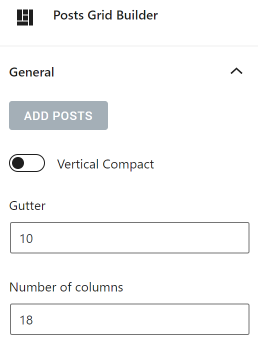 Grid Builder General settings