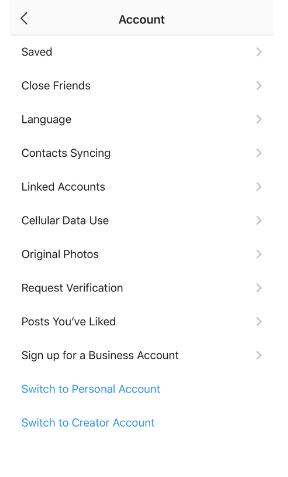 Instagram Account settings