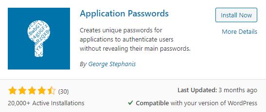 Application Passwords plugin