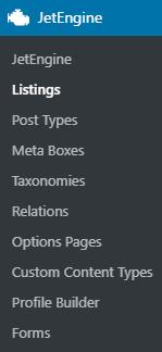 JetEngine Listings submenu