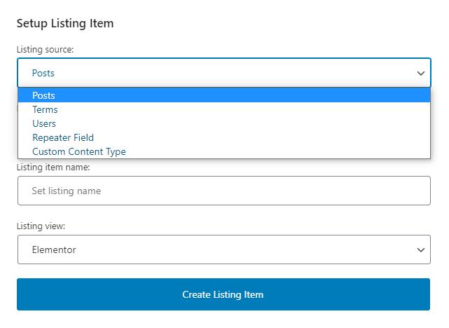 Listing Sourse option