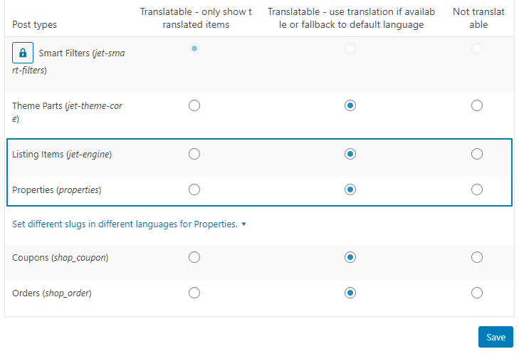 post types translation section in WPML settings