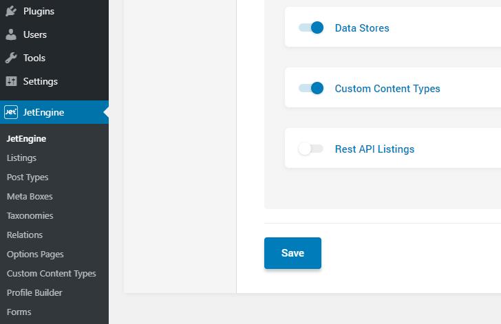 Enabling REST API toggle