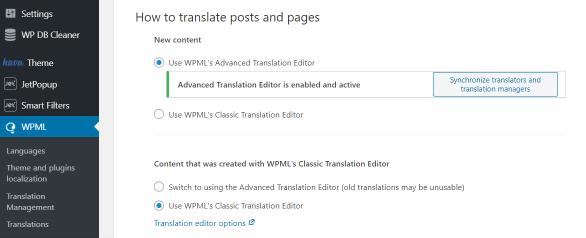 translation editor in WPML settings tab