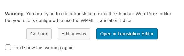 wpml advanced translation warning