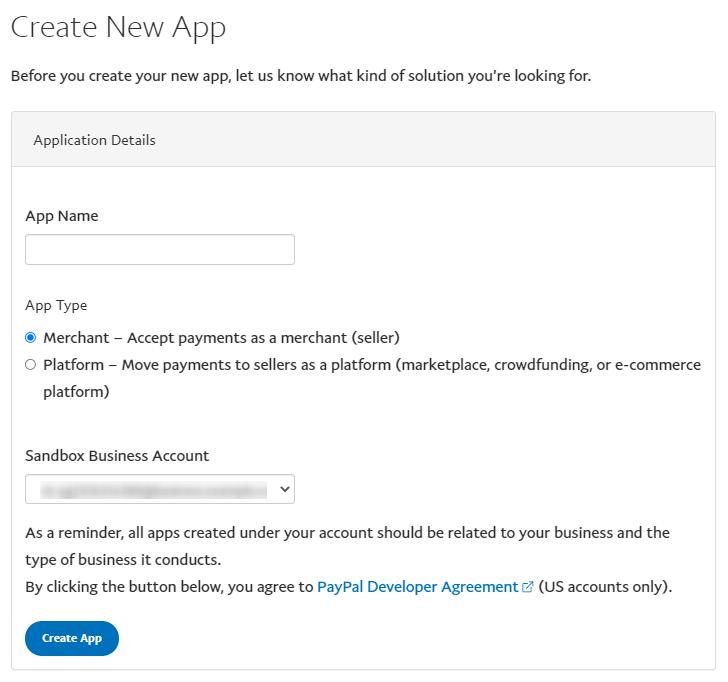new app creation window on paypal developer site