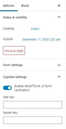 captcha settings