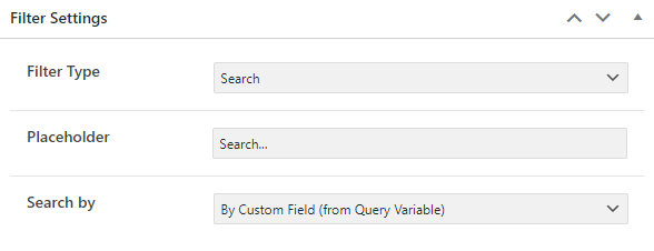 search filter settings