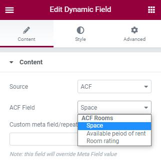 dynamic field settings
