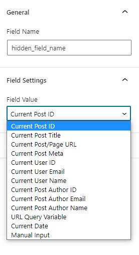 hidden field settings