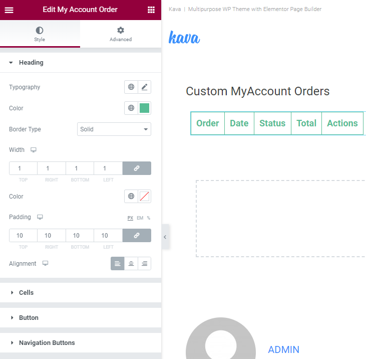 customizing my account orders widget