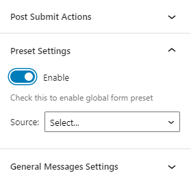 preset settings