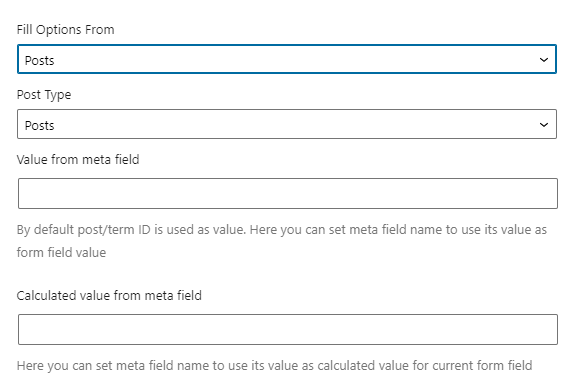 select field posts