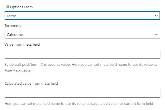 select field terms