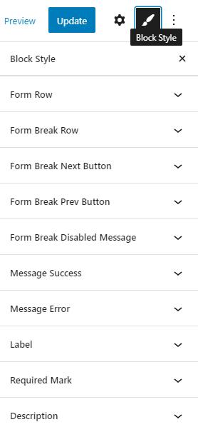 block style settings