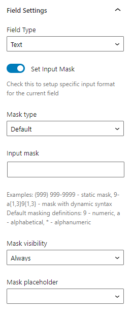 text field settings