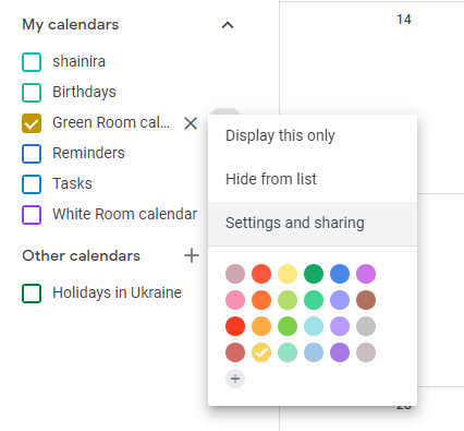 new google calendar settings