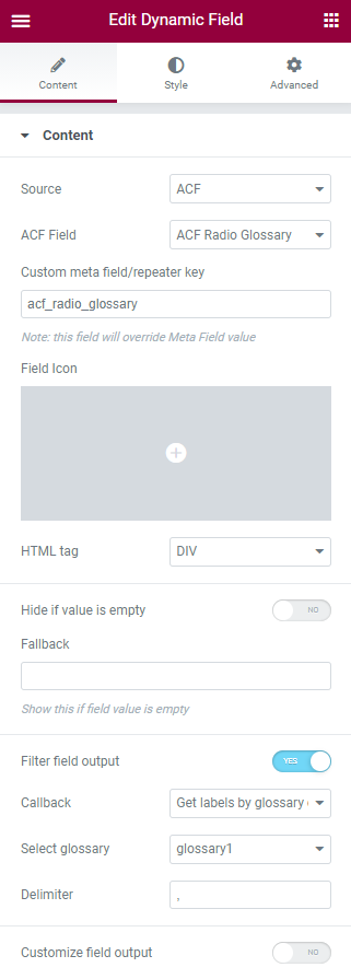 acf glossary field in elementor