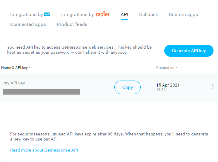 getresponse API key