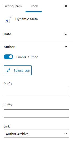 dynamic meta author settings