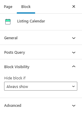 calendar block visibility