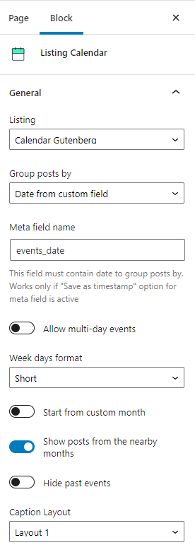 Calendar general settings