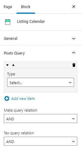 calendar listing post query settings