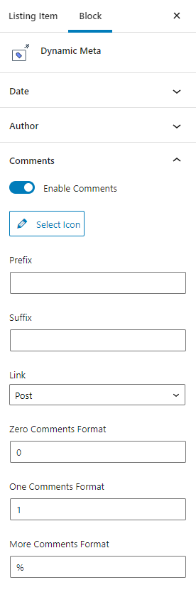 dynamic meta comments settings