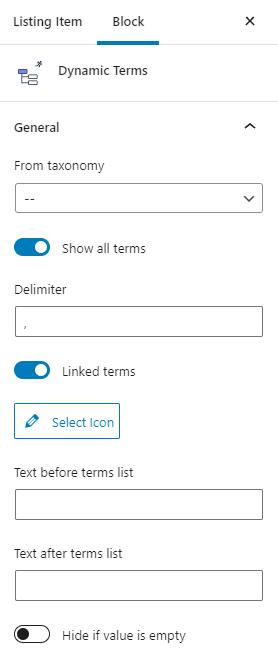 dynamic terms block settings