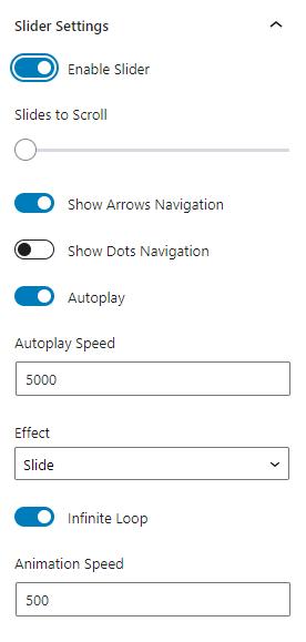 listing grid enable slider