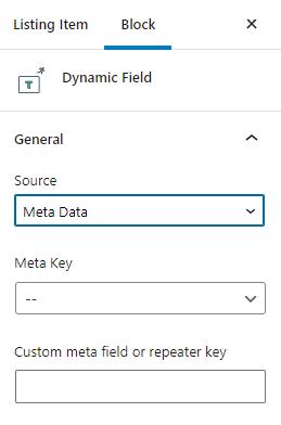 dynamic field general settings