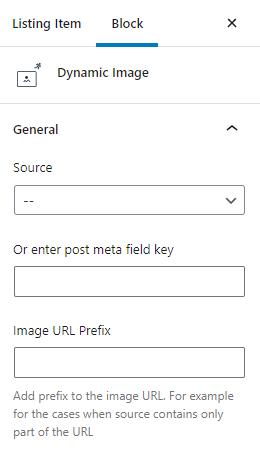 dynamic image general settings
