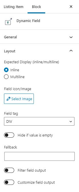 dynamic field layout settings