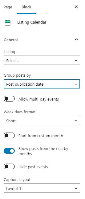 listing calendar general settings