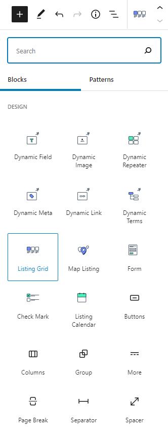 listing grid block