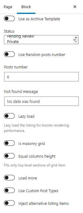 Listing Grid block general settings