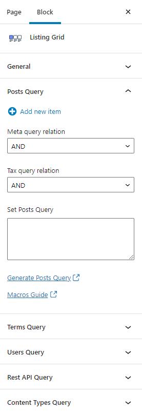listing grid query settings