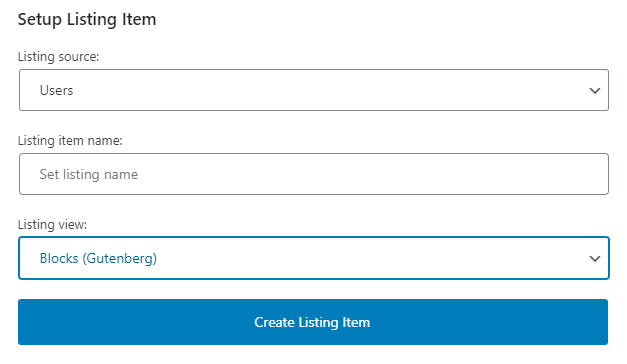 listing for users
