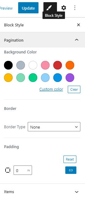pagination block style settings