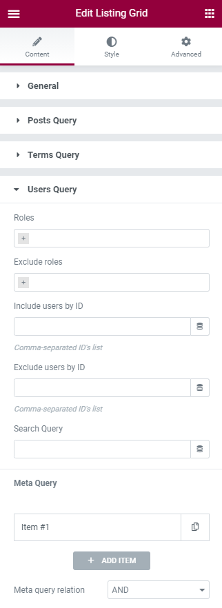users query settings