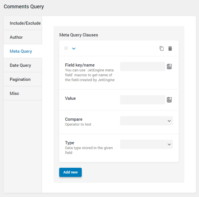 Comments Query meta query settings